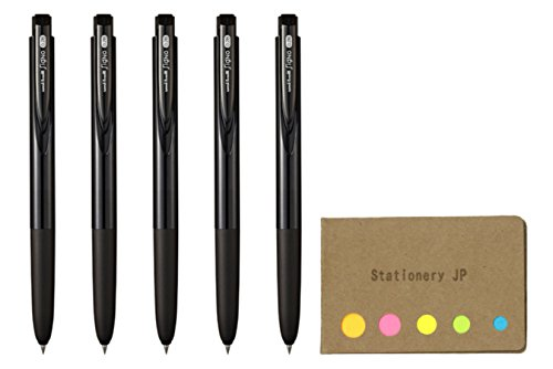 Uni-ball Signo RT1 Retractable Gel Ink Pen, Ultra Micro Point 0.28mm, Rubber Grip, Black Ink, 5-Pack, Sticky notes Value Set