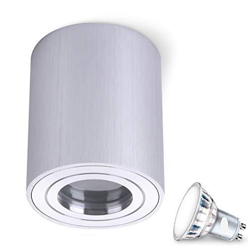 MILANO IP44 5W LED warmwit GU10 fitting 230 V (hoekig/rond, B S W) spotlight plafondlamp kubuslamp CUBE kroonluchter van aluminium spot