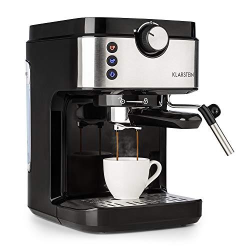 Klarstein BellaVita Espresso - Máquina de espresso, 1575 vatios, 20 bar, FullPressure, Capacidad de 900ml, One Touch Control, Boquilla de vapor móvil, Acero inoxidable, Negro/plateado