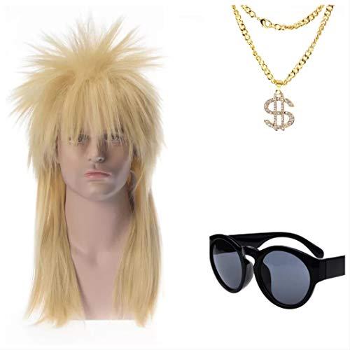 thematys 80er Jahre 3er Set - Perücke Vokuhila, Piloten-Brille, Gold-Kette - 80er Kostüm für Erwachsene - perfekt für Fasching, Karneval & Cosplay - Damen Herren