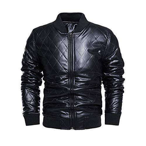 Yowablo Herren Jacke Übergangsjacke Biker Lederjacke Echtleder Kunstleder Winter Camouflage Bluse Verdickungsmantel Outwear Top Bluse (XXL,Schwarz)