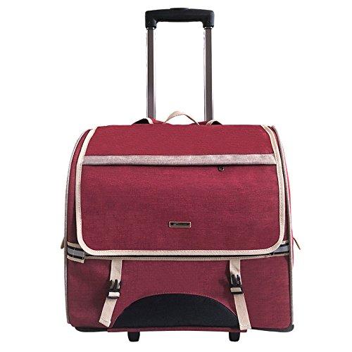 LIRUI Huisdier drager voor honden kattenlichtgewicht stof Zachte zijdelings dragen reistas goedgekeurd met extra zakken 44 * 23 * 39cm rood