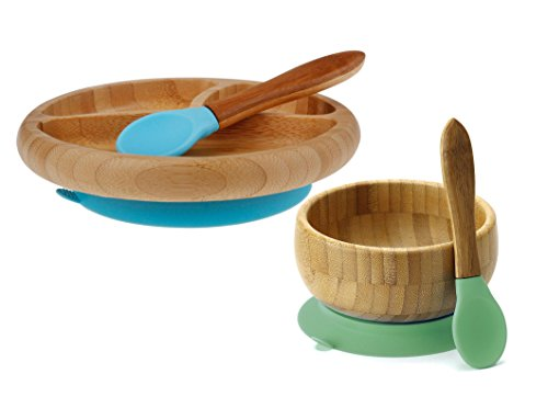 Avanchy Feeding Bamboo Silicone Baby Training Spoons with Plate and Bowl