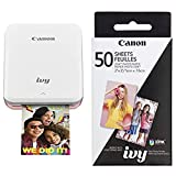 Canon IVY Mobile Mini Photo Printer through Bluetooth(R), Rose Gold AND Canon ZINK Photo Paper Pack, 50 Sheets