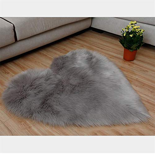 JIFNCR Herz Teppich Plüsche Teppiche für Wohnzimmer Arbeitzimmer Schlafzimmer Faux Bett Vorleger oder Matte für Stuhl Sofa Home Dekor,Herzförmiges Grau