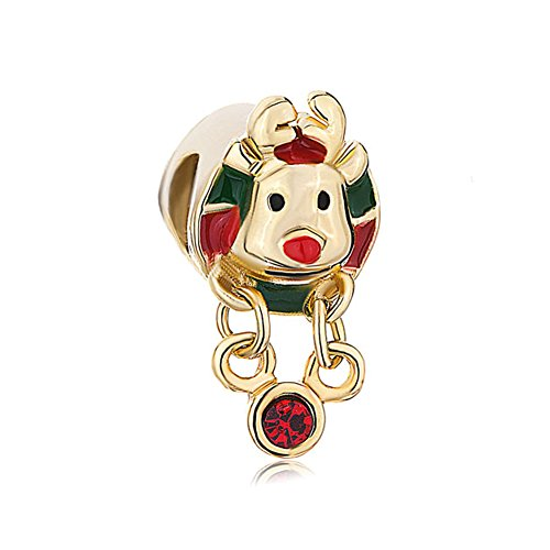 Lifequeen Jewellery Christmas Rudolph Reindeer Charms Beads for Bracelets