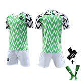 # 7# 10# 18 Nigeria WM-Trikot 2018, Herren-Fußballtrikot Retro-Fußballtrikot für Erwachsene, WM-Trikot Verschiedene Optionen mit Nummer (S-XXL)-greenD-L