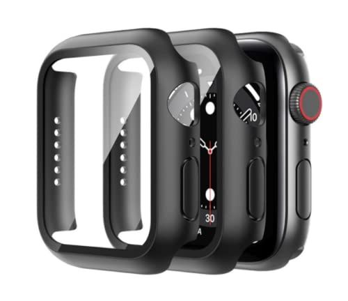 2 Pack For Tempered Glass Case For Apple Watch Series 7 45mm 41mm Screen Protector Hard PC Protective Case For iWatch 7 Applewatch 45mm 41m (41mm)