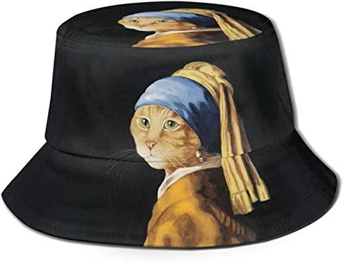 NA emmer hoed kat met een parel oorbel zon visser pet outdoor hoed UV zon bescherming hoed opvouwbare lichtgewicht ademende Travel Cap zwart