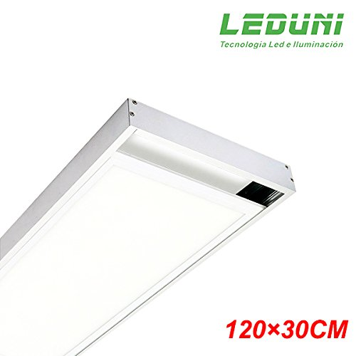 LEDUNI ® Marco Panel LED Empotrable Kit de Superficie Panel 120X30 Marco de Montaje Superficie Borde Blanco 120X30