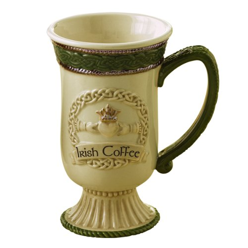 Grasslands Road Celebrating HeritageFriendship Loyalty Love Celtic Knot Claddagh Symbol Irish Coffee Mug, Silver
