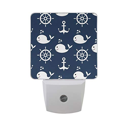 ALAZA 2 Pack Nautical Whale Fish Wheel Anchor LED Night Light Dusk to Dawn Sensor Plug in Night Home Decor Desk Lamp for Adult