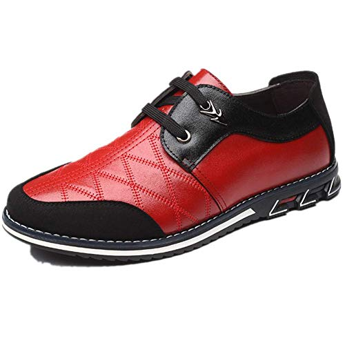 Mens Yokest Business Loafers Driving Leather Classic Sneakers Derby Breathable Comfortable Brogue Shoes 9.5 Red,10.43