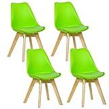 WOLTU 4er Set Esszimmerstühle Küchenstuhl Design Stuhl Esszimmerstuhl Kunstleder Holz Grün BH29gn-4