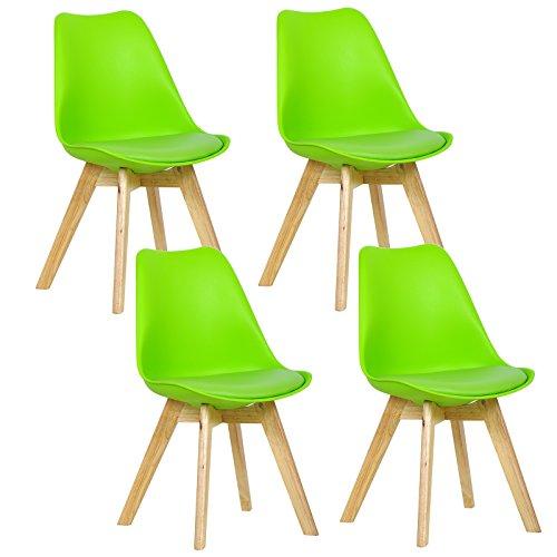 WOLTU 4X Sillas de Comedor Dining Chairs Silla Tower Madera Silla de Escritorio Asiento Acolchado en Cuero Sintético y Polipropileno Silla de Cocina Silla Conferencia Verde BH29gn-4
