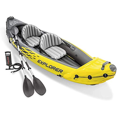 YKHOME Canoë Kayak Gonflable,Kayak Gonflable Adventure, 2 Places + pagaie + Pompe Double Action Adulte Unisexe,