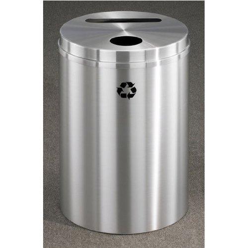 Glaro RecyclePro Satin Aluminum Cover Dual Purpose Recycle Receptacle in All Satin Aluminum Finish