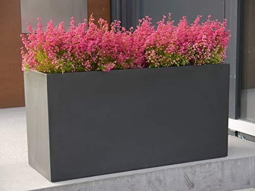 Pflanztrog d. BUNDESGARTENSCHAU aus Fiberglas in schwarz-anthrazit - Größe (LxBxH): 100x40x50 cm, Blumenkübel, Pflanzgefäße, Pflanzkübel