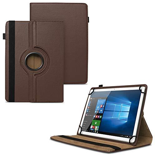 Nauci Lenovo Tab 2 A10-30 F Universal Tablet Schutzhülle hochwertiges Kunstleder Hülle Tasche Standfunktion 360° Drehbar Cover Case, Farben:Braun