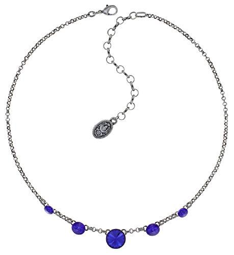 Konplott: Collier Rivoli majestic blue, elegantes Erbsketten-Collier mit runden königsblauen Kristallen, für Damen/Frauen