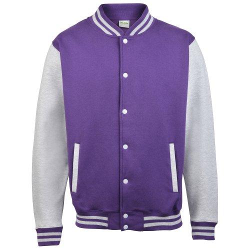 Awdis Unisex Varsity Jacket (M) (Purple/ Heather Grey)