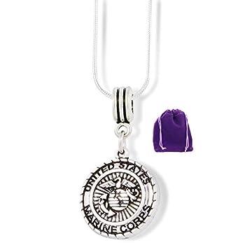 Marine Mom Necklace | Pendant Marine Corp Jewelry Jewlry Medal Charm Accessories Stuff Gift for Mom Men Women Girlfriend USMC Marines Symbol