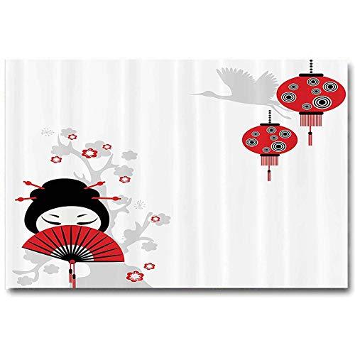 Lantern Decor Collection Artwork for Bedroom Bathroom Geisha Holding Japanese Fan Floral Landscape Crane Bird Happiness Classical Illustration Best Gifts for Men 2020 Black Red L12 x H18 Inch