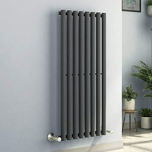 NRG Modern Radiator Single Round Panel Vertical Design Bathroom Central Heating Radiators Anthracite 1200 x 545mm