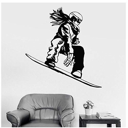 MINGKK Wandaufkleber Snowboarder Girl Snowboard Extremsport Wandaufkleber Vinyl Wohnkultur für Kinderzimmer Interior Wandtattoos Wallpaper 67x80cm
