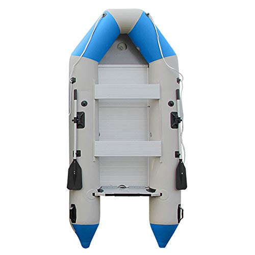 Wotefusi Inflatable Boat Dinghy Raft Kayak Sky Blue 5 Persons 10.83 Ft Aluminum Alloy Floor Board 2 Oars Thick PVC Uv Resistant Non Slip Anti-Collision