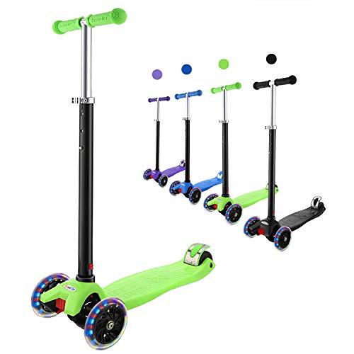 Hikole Monopattino per Bambini 3 Ruote Kick Scooter da 3 a 12 Anni Monopattino Pieghevole Regolabile per Ragazze e Ragazzi, Carico Massimo 110lb