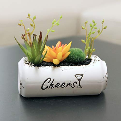Plant Bloem Pot Keramische Zip-top Kan Gepotte Kunstmatige Geel Succulente Plant Thuis Indoor Decoratie Geschikt voor Alle Planten Bloempot