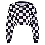 ZJSWCP Sudadera Patrón de Tablero de ajedrez de Harajuku Manga Larga Mujer Sudadera Delgada Suelta suéteres Cortos Prendas de Abrigo 2019 Primavera,M
