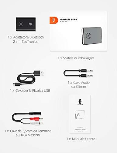 TaoTronics Bluetooth 5.0 Trasmettitore Ricevitore Bluetooth 2 in 1 Adattatore Wireless Audio da 3,5mm Bassa Latenza 2 dispositivi contemporaneamente per TV / Auto / Nintendo Switch