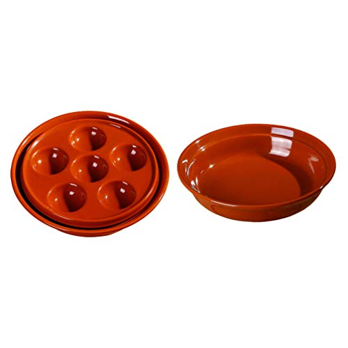 Cabilock 2pcs Ceramic Escargot Plates Dishes 6 Holes Escargot Baking Dishes for Snail Mushroom BBQ Red