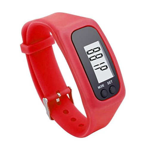 Perman Durable Digital LCD Pedometer Running Walking Counter Watch Bracelet (Red)