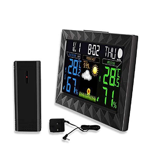 HUA-Digital alarm clock Digitaler Wecker, Wetterstationsuhr, Globale Wettervorhersage, Kalenderuhr, Farbbildschirmwetteruhr Schwarz