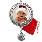 BANBERRY DESIGNS Baby's First Christmas - 2021 Photo Xmas Ornament - I Love You to The Moon and Back...