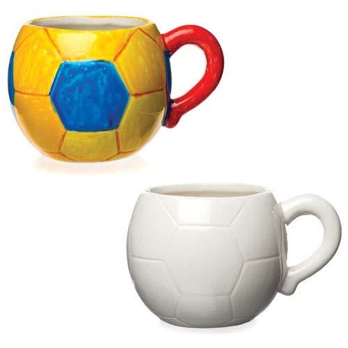 Baker Ross Football Porzellanbecher für Kinder zum Bemalen & Dekorieren - Keramik-Bastelset für Kinder (Schachtel mit 2)