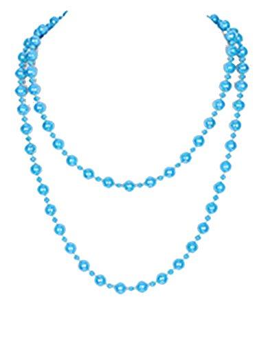 beyoutifulthings Damen Kunststoff Halskette Blau in Zwei Lagen Perlenkette aus großen und kleinen Perlen aus Epoxid Länge 152cm