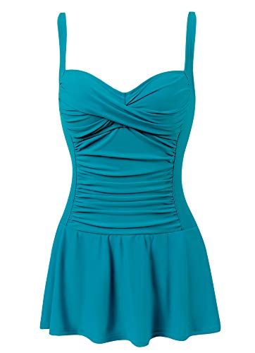 Womens Swimdress Swim Dress one Piece Swimsuit Bathing Suit with Built in Bra(Teal Blue,Size 8)