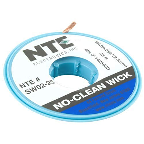 NTE Electronics SW02-25 No-Clean Solder Wick, 4 Blue.098' Width, 25' Length
