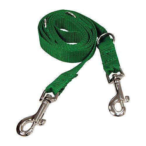 Schecker riem hondenriem geleider 2,20 m lang met 2 karabijnhaken aan het einde multifunctioneel bruikbaar, groen