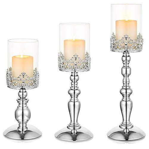Nuptio Set mit 3 Kerzenhaltern für Stumpenkerzen, Silber Hurricane Kerzenhalter Moderne Wohnkultur Geschenke, Glassäulen Kerzenhalter für Esszimmer Hochzeitstag Geburtstag Tischdekoration