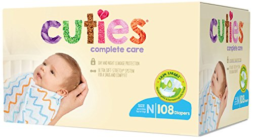 Cuties Complete Care Baby Diapers, Newborn, 108 Count