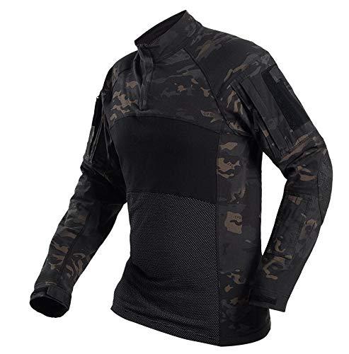 SGOYH Paintball heren Camo T-shirt met lange mouwen Tactische Airsoft Shirts met zakken