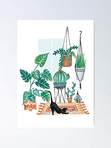 AZSTEEL Cat In Potted Jungles Poster