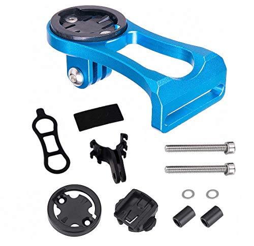 Soporte de Aleación de Aluminio para Ordenador de Bicicleta, Soporte de Extensión de Tallo de Bicicleta para Cámara Deportiva Cronómetro GPS - azul