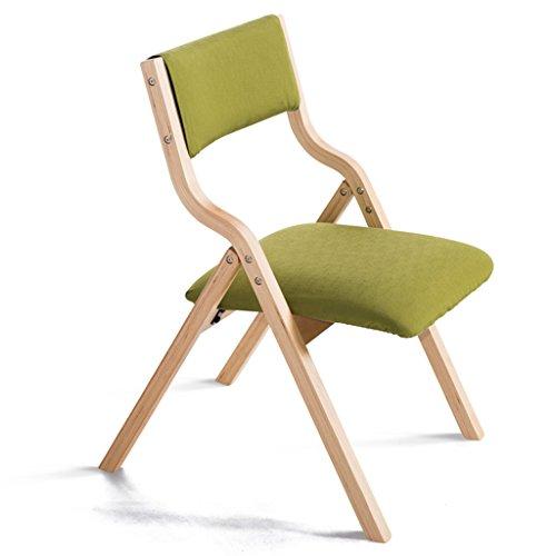 Chaise chaise pliante en bois massif chaise de salle à manger en tissu simple et moderne chaise de bureau de mahjong chaise de maison chaise d'ordinateur libre espace libre (Color : Green)
