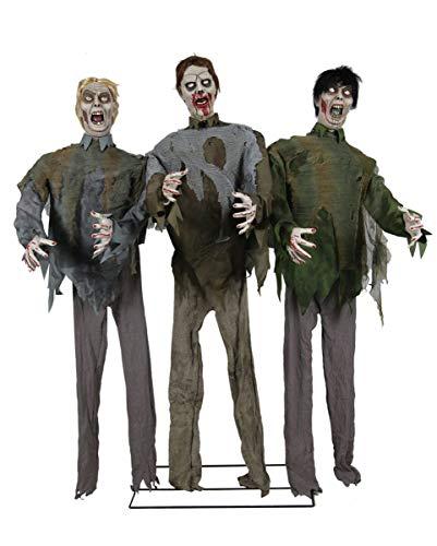 3-köpfige Zombie Horde als Halloween Figuren Animatronic 185 cm